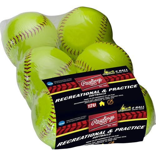 Rawlings Girls' 12 in Recreational Fast-Pitch Softballs 6-Pack - view number 2