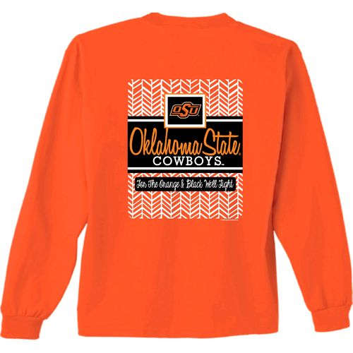 New World Graphics Women's Oklahoma State University Herringbone Long Sleeve T-shirt