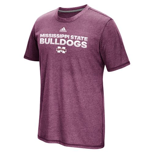 adidas Men's Mississippi State University Sideline Hustle climacool Short Sleeve T-shirt
