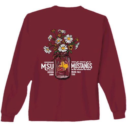 New World Graphics Women's Midwestern State University Bouquet Long Sleeve T-shirt