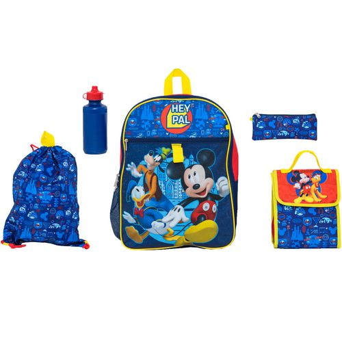 Disney Mickey Mouse Boys' 5 Piece Set Backpack