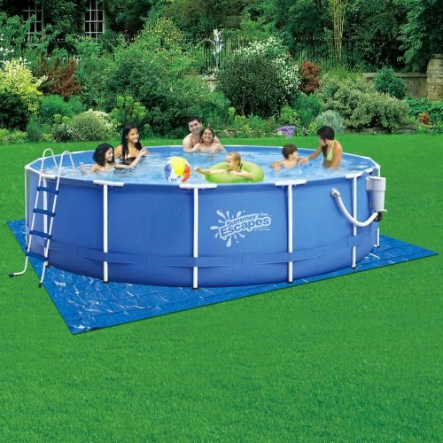 "Summer Escapes 15' x 52"" Round Metal Frame Pool Set"
