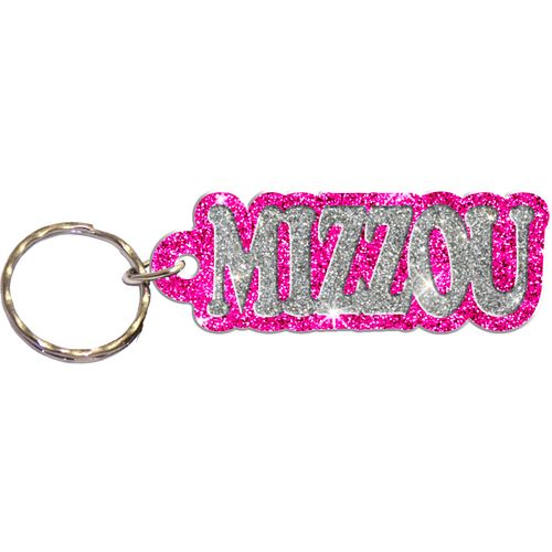 Stockdale University of Missouri Acrylic Freeform Glitter Keychain