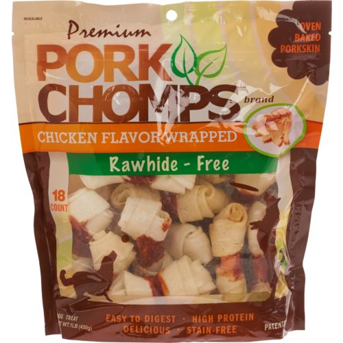 """Display product reviews for Pork Chomps Premium 4"""" Small Chicken Knotz 18-Pack"""