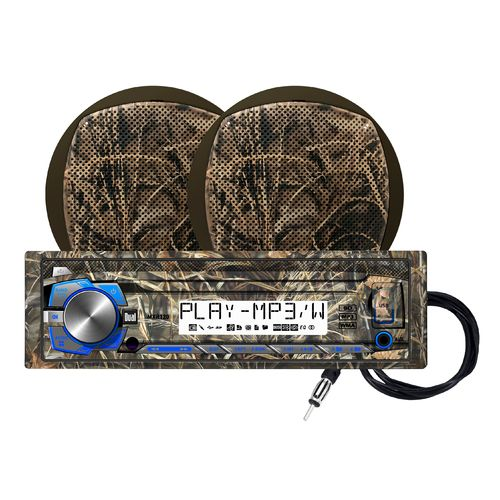 Dual Realtree 240W Marine Mechless Receiver with Two 6.5  Dual Cone Speakers