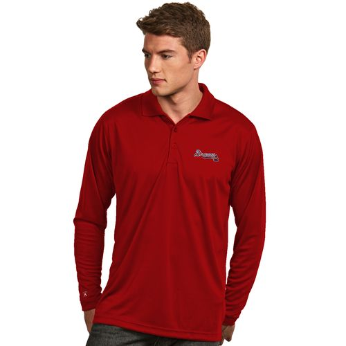 Antigua Men's Atlanta Braves Exceed Long Sleeve Polo Shirt