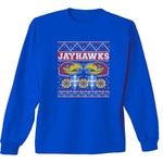 New World Graphics Adults' University of Kansas Ugly Sweater Long Sleeve T-shirt