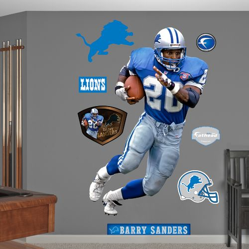 Fathead Detroit Lions Barry Sanders Record Breaker Real Big Wall Decal