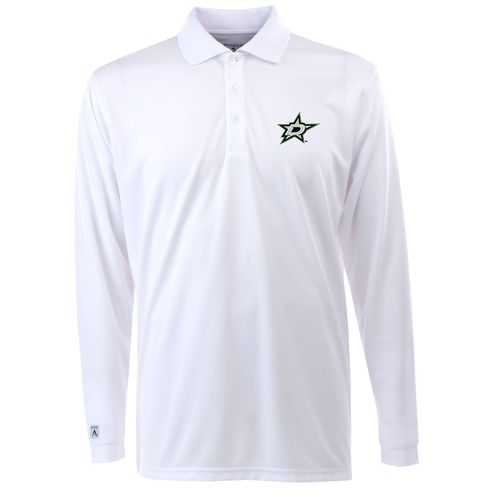 Antigua Men's Dallas Stars Exceed Long Sleeve Polo Shirt