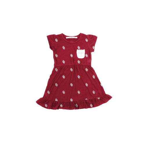 Chicka-d Toddler Girls' University of Oklahoma Cap Sleeve Ruffle Dress