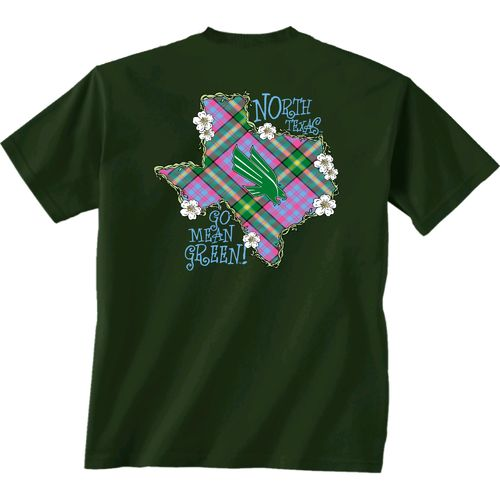 New World Graphics Women's University of North Texas Bright Plaid T-shirt