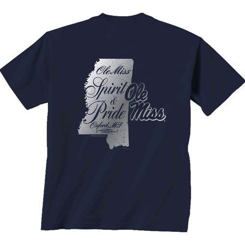 New World Graphics Women's University of Mississippi Silver State Distress T-shirt