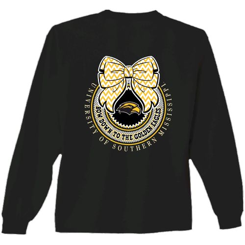 New World Graphics Women's University of Southern Mississippi Ribbon Bow Long Sleeve T-shirt