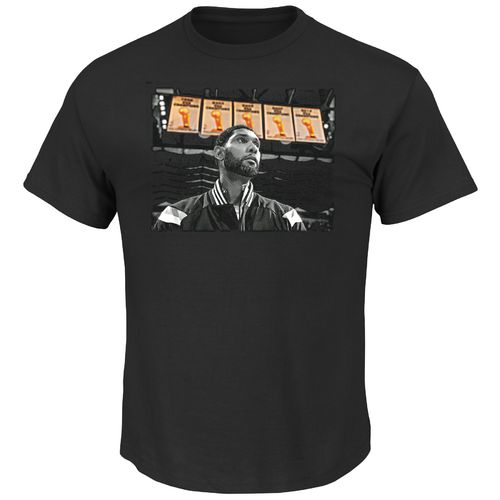 Majestic Men's San Antonio Spurs Tim Duncan 5X Champion Banner T-shirt