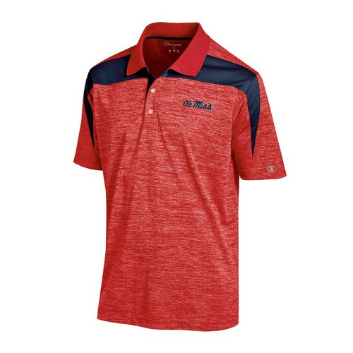 Champion™ Men's University of Mississippi Synthetic Colorblock Polo Shirt