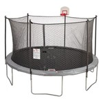 Jump Zone 14 foot Round Trampoline and Double Net Enclosure with Dunkzone Hoop - view number 1