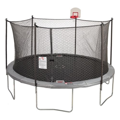 Jump Zone 14 foot Round Trampoline and Double Net Enclosure with Dunkzone Hoop