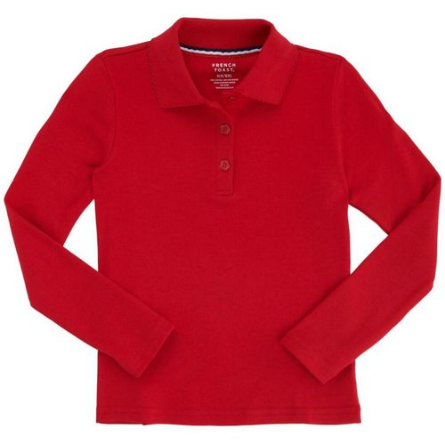 French Toast Girls' Long Sleeve Interlock Knit Polo with Picot Collar