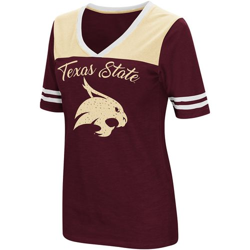 Colosseum Athletics Women's Texas State University Twist 2.1 V-Neck T-shirt