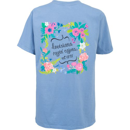 New World Graphics Women's University of Louisiana at Lafayette Comfort Color Circle Flowers T-s