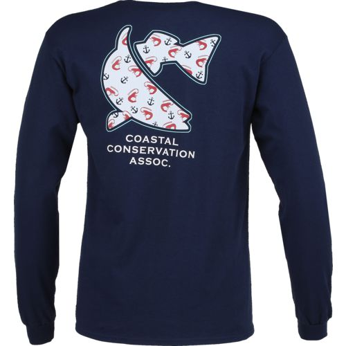CCA Men's Seersucker Shrimp Long Sleeve T-shirt