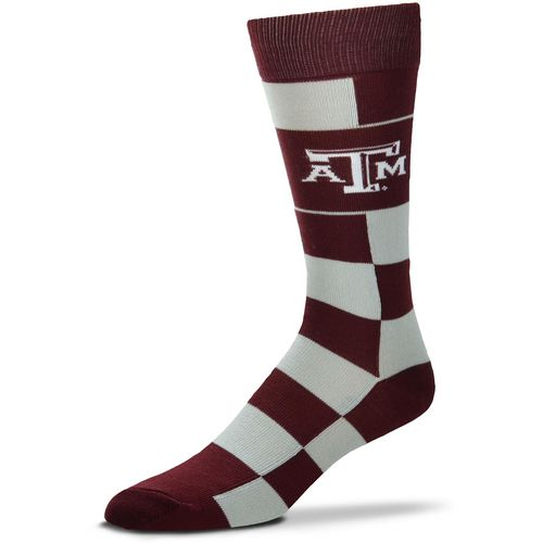 For Bare Feet Texas A&M University Jumbo Check Thin Knee High Dress Socks