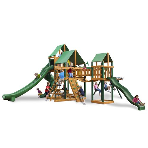 Gorilla Playsets™ Treasure Trove II Swing Set with Timber Shield™ and Deluxe Vinyl Canopy