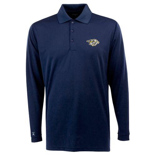 Antigua Men's Nashville Predators Exceed Long Sleeve Polo Shirt