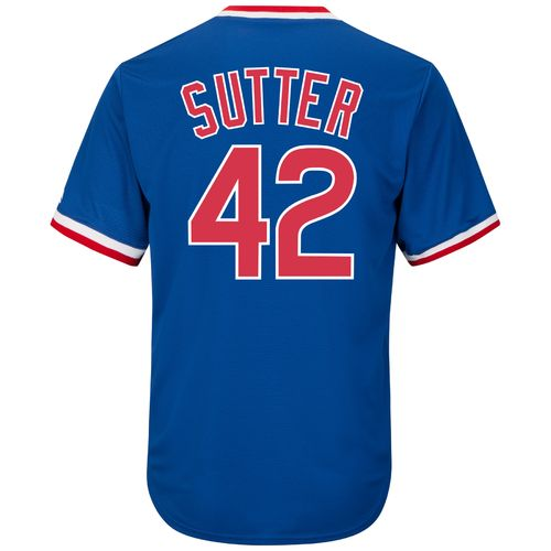 Majestic Men's Chicago Cubs Bruce Sutter #42 Cooperstown Cool Base 1968-69 Replica Jersey