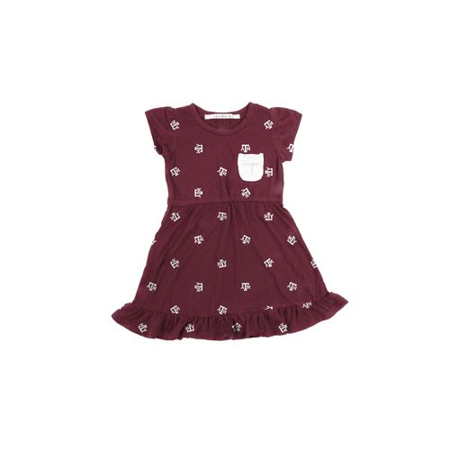 Chicka-d Toddler Girls' Texas A&M University Cap Sleeve Ruffle Dress