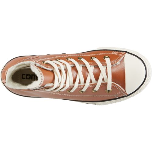 Converse Girls' Chuck Taylor All Star Leather Shearling Hi Shoes - view number 4