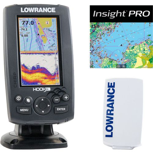 Lowrance hook 4 mid high downscan fishfinder chartplotter for Academy fish finder