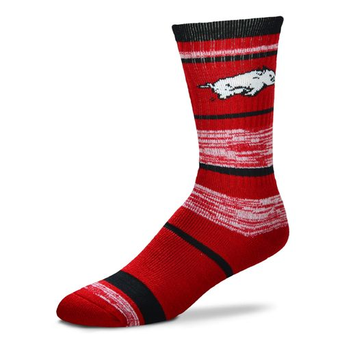 For Bare Feet Men's University of Arkansas Stripe Athletic Crew Socks