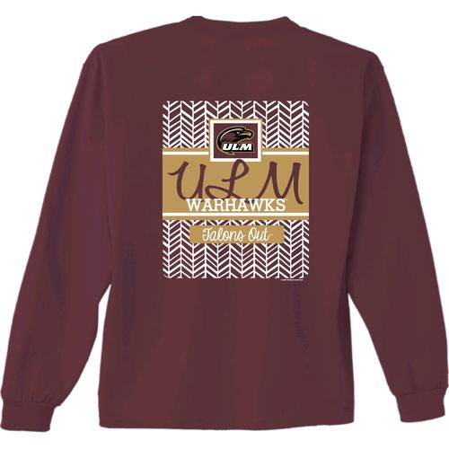 New World Graphics Women's University of Louisiana at Monroe Herringbone Long Sleeve T-shirt