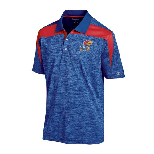 Champion™ Men's University of Kansas Synthetic Colorblock Polo Shirt