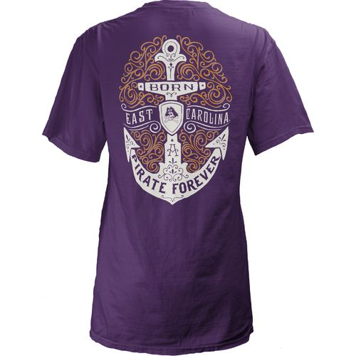 Three Squared Juniors' East Carolina University Anchor Flourish V-neck T-shirt