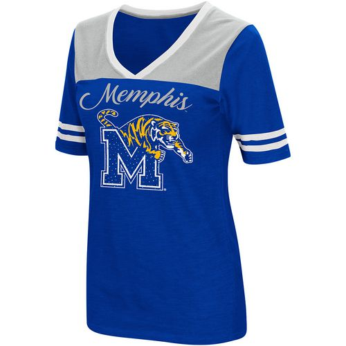 Colosseum Athletics Women's University of Memphis Twist 2.1 V-Neck T-shirt