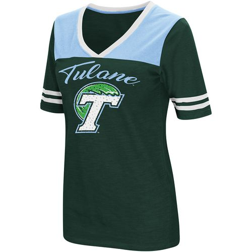 Colosseum Athletics Women's Tulane University Twist 2.1 V-Neck T-shirt