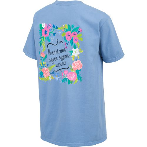 New World Graphics Women's University of Louisiana at Lafayette Comfort Color Circle Flowers T-s - view number 2