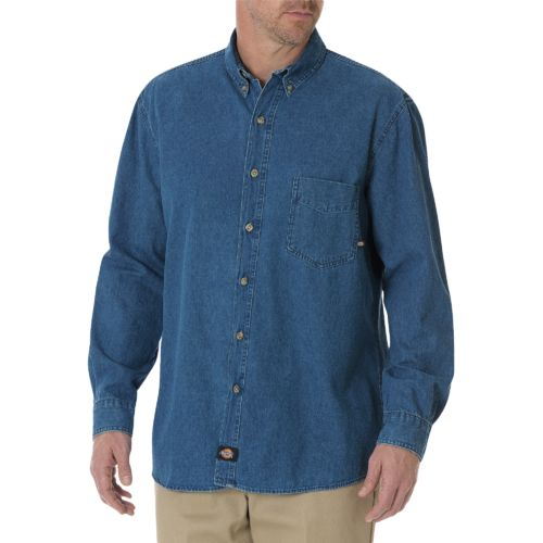 Dickies Men's Long Sleeve Button Down Denim Shirt