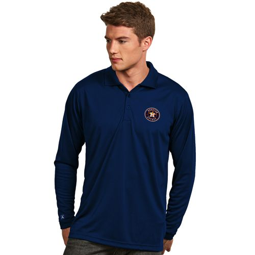 Antigua Men's Houston Astros Exceed Long Sleeve Polo Shirt