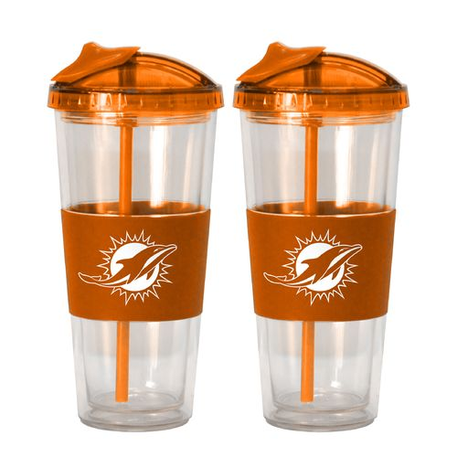 Boelter Brands Miami Dolphins 22 oz. No-Spill Straw Tumblers 2-Pack