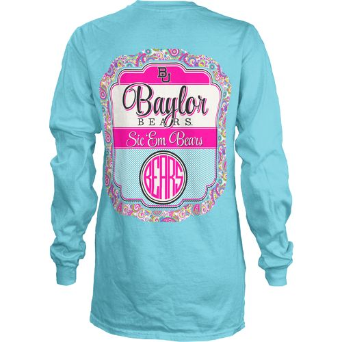 Three Squared Juniors' Baylor University Paisley Frame T-shirt