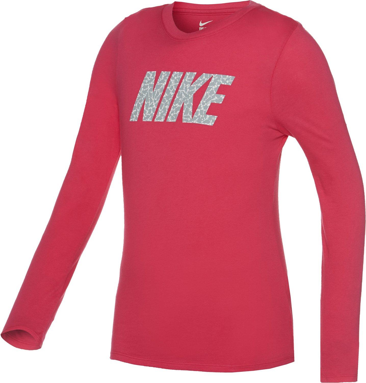 Nike Girls' Pattern Crew Long Sleeve Shirt