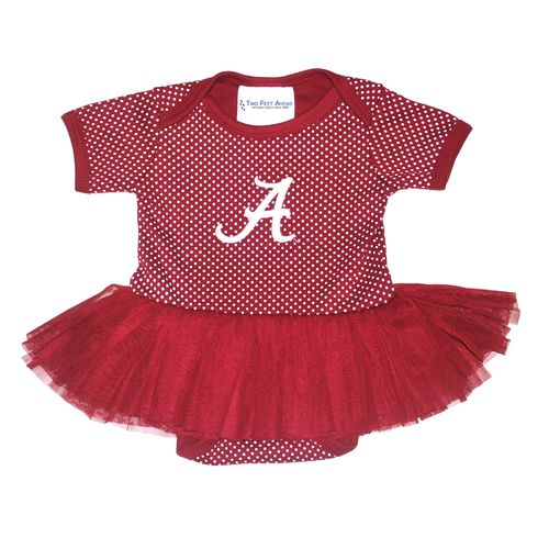 Two Feet Ahead Infant Girls' University of Alabama Pin Dot Tutu Creeper