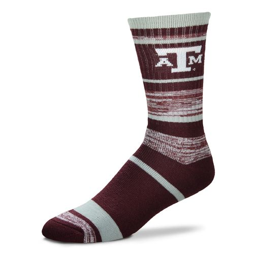 For Bare Feet Men's Texas A&M University Striped Crew Socks
