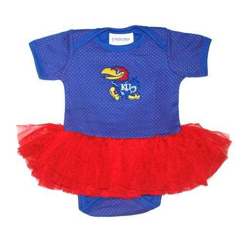 Two Feet Ahead Infant Girls' University of Kansas Pin Dot Tutu Creeper