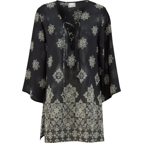 Display product reviews for O'Rageous Women's Border Print V-neck Tunic Dress