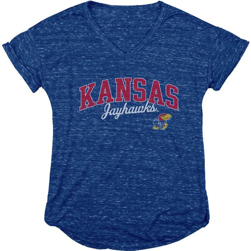 Blue 84 Women's University of Kansas Dark Confetti V-neck T-shirt