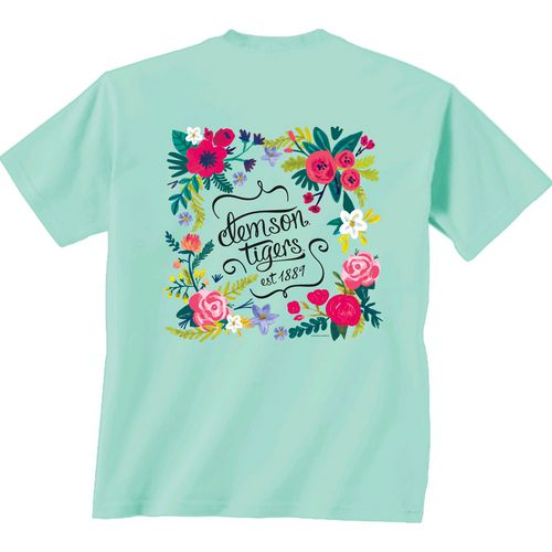 New World Graphics Women's Clemson University Comfort Color Circle Flowers T-shirt - view number 1